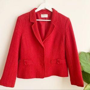 Precis Petite Tweed Jacket Red Cropped Wool Blend